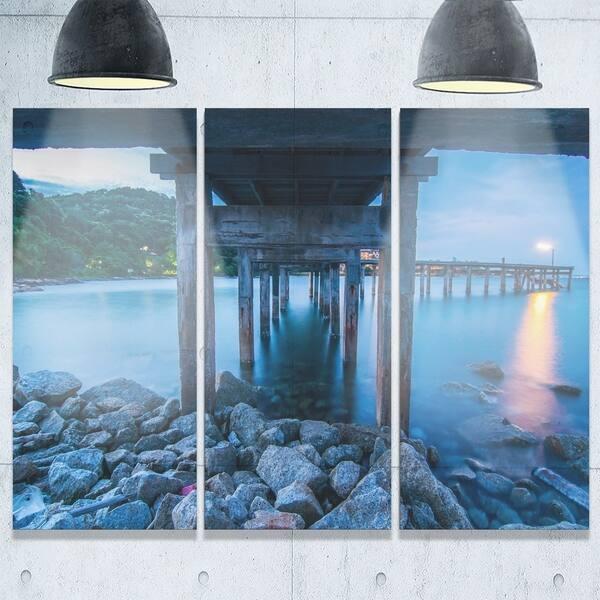 Designart Under Wood Bridge At Twilight Sea Bridge Glossy Metal Wall Art Overstock 19534674
