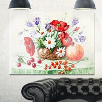 Colorful Bunch of Flowers and Fruits - Floral Glossy Metal Wall Art