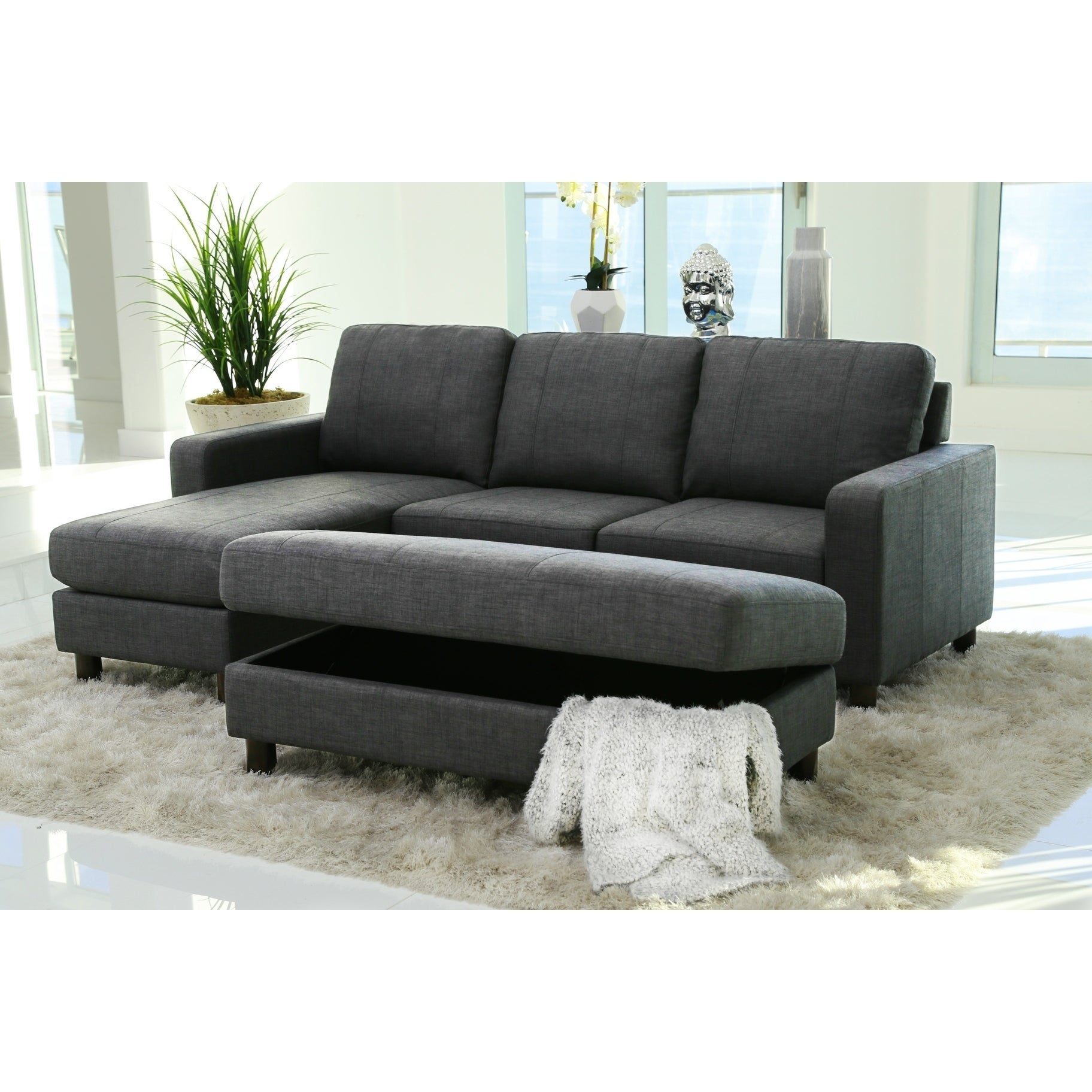 Shop Abbyson Berkeley Grey Fabric Reversible Sectional And Ottoman Free Shipping On Orders