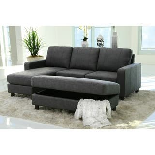 abbyson berkeley charcoal grey fabric reversible sectional and ottoman - Set Of Living Room Furniture