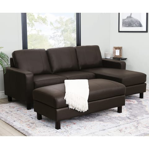 Abbyson Hampton Brown Leather Reversible Sectional and Storage Ottoman