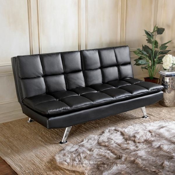 Abbyson Brandon Black Bonded Leather Sofa Bed