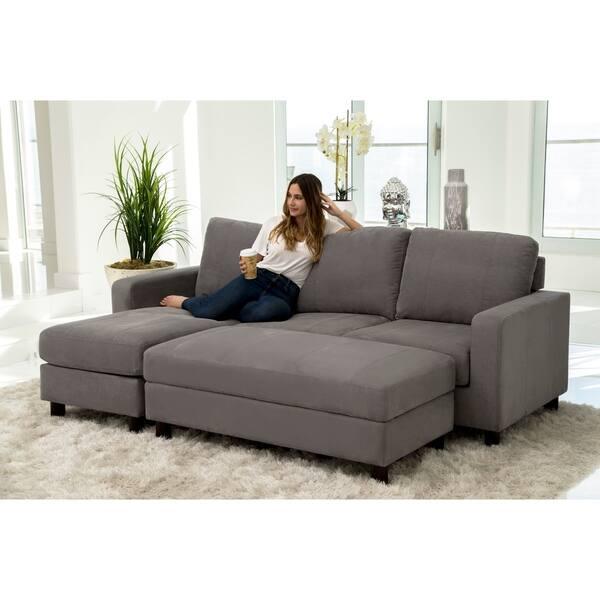 Pleasing Shop Abbyson Berkeley Reversible Sectional And Ottoman Inzonedesignstudio Interior Chair Design Inzonedesignstudiocom
