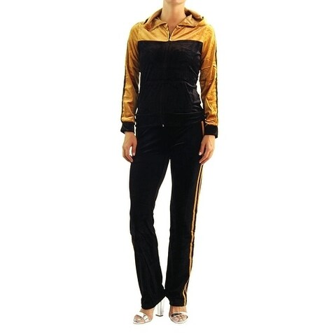 Jeggology Womens Velvet Suit Two Piece Set Tracksuit Jogger Gold