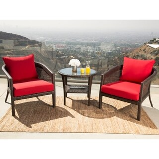 Abbyson Santorini Sunbrella Red Outdoor Wicker 3 Piece Chair Set