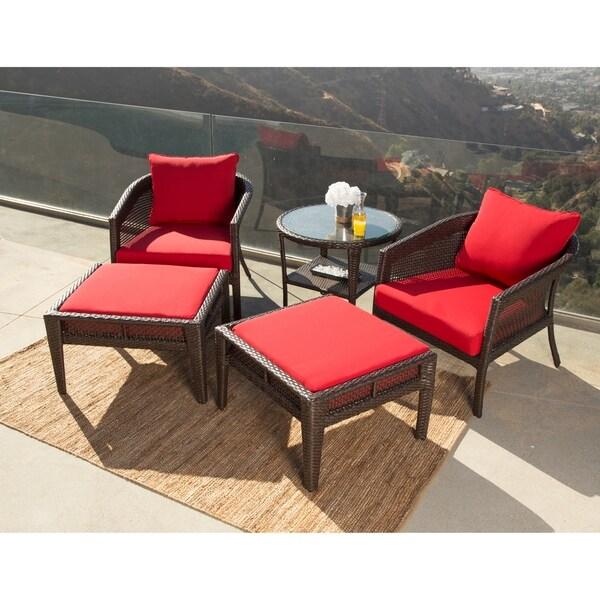Shop Abbyson Santorini Sunbrella Red Outdoor Wicker 5