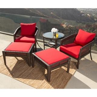 Abbyson Santorini Sunbrella Red Outdoor Wicker 5 Piece Patio Chair Set