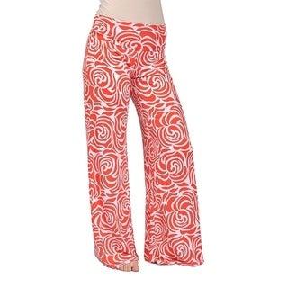 Womens Floral Plazzo Pants White Orange