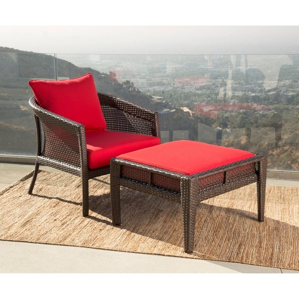 Abbyson Santorini Sunbrella Outdoor Wicker Chair And Ottoman Patio Set