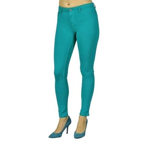 Womens Colored Stretch Leggings Pants 2 Back Pocket Jade