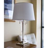 Darcy Table Lamp Nickel Base by Laura Ashley with Premium White Floor Shade