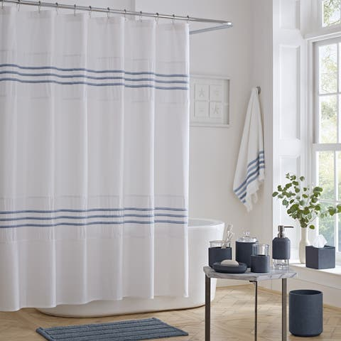 Five Queens Court Laney 100% Cotton Heather Stripe Shower Curtain