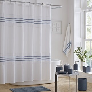 Five Queens Court Laney 100% Cotton Heather Stripe Shower Curtain