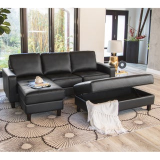 Abbyson Malden Tufted Leather Reversible Sectional and Ottoman (Option: Black)