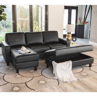 Abbyson Malden Tufted Leather Reversible Sectional And Ottoman Option Black