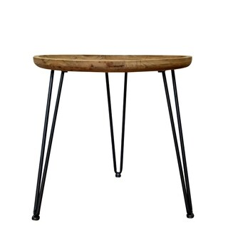 Teton Home AF-128 Black Wood Side/End table with Round Top