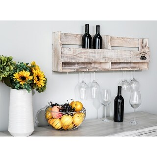 Traditional Pine Wood Multi-Bottle Whitewashed Wine Holder