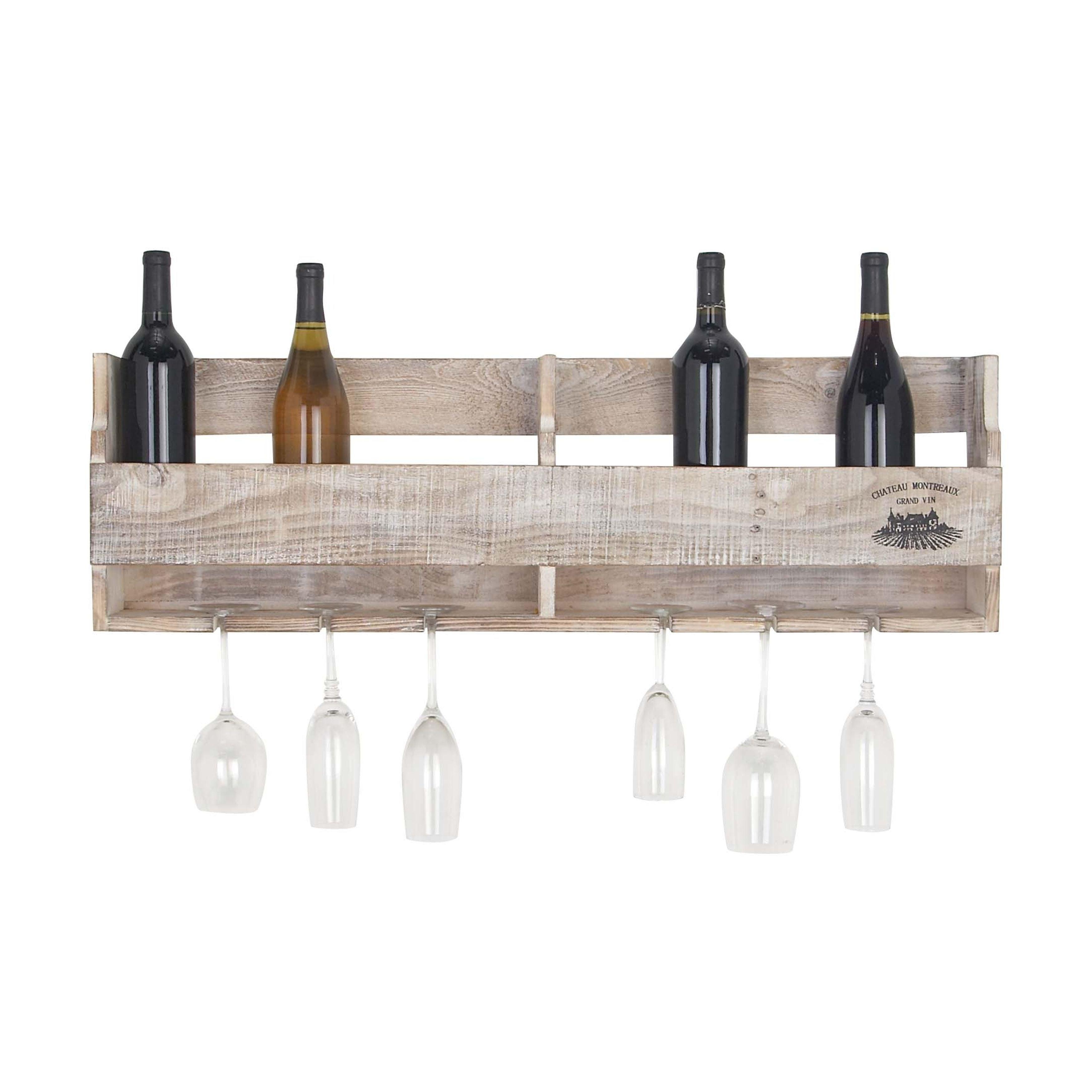 Multi Bottle Glass Wine Holder Wall Mounted Wooden Shelf Kitchen