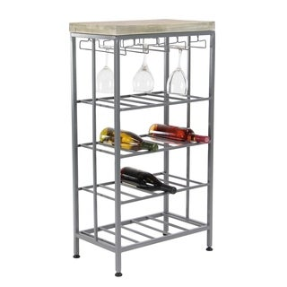 Rustic Iron and Pine Wood 4-Tiered Gray Wine Storage