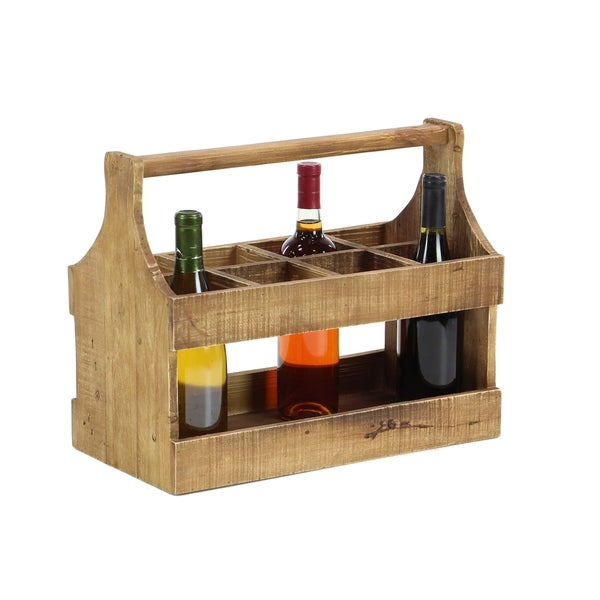Shop Rustic 8 Bottle Natural Wood Table Top Wine Holder Free