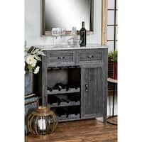 Studio 350 Traditional 12-bottle Matte Black/Hammered Metallic Grey Wood/Iron Wine Cabinet with Suspended Rack