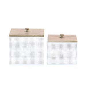 Set of 2 Modern Iron Square White Canisters with Lid