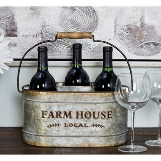 Farmhouse 7 x 13 Inch Gray Iron 6-Bottle Oval Wine Caddy by Studio 350