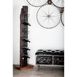 Rustic Teak Wood and Iron 6-Bottle Standing Wine Holder