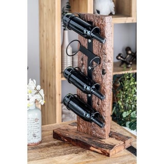 Rustic Teak Wood and Iron 4-Bottle Standing Wine Holder