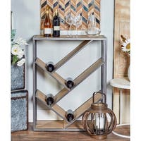 Modern Slanted Fir Wood and Iron Rectangular Wine Shelf