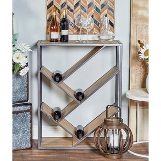 Modern Slanted Fir Wood and Iron Rectangular Wine Shelf