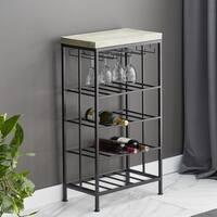 Rustic Iron and Pine Wood 4-Tiered Black Wine Storage
