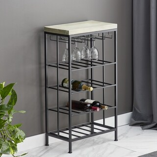 Rustic Iron and Pine Wood 4-Tiered Black Wine Storage