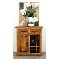 Studio 350 Rustic Brown Pine Wood 9-bottle Wine Cabinet with Drawers and Stemware Rack