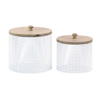 Set of 2 Modern Iron Round White Canisters with Lid