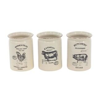 Set of 3 Farmhouse Ceramic Cutlery Jar 8 X 6 inch Vases - White