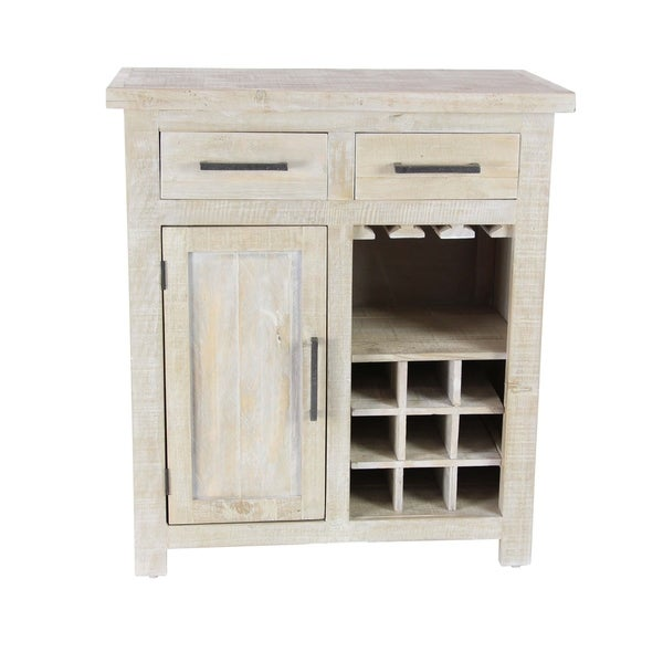 Studio 350 White Rustic Pine Wood 9 Bottle Wine Cabinet With Drawers And Rack