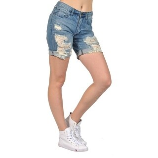 Women's Ripped High Fashion Denim Capri Shorts (2 options available)