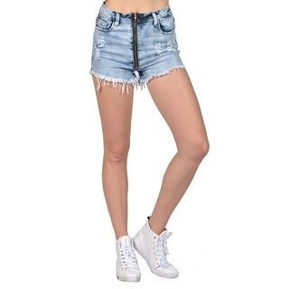 Women's Frayed Ripped Acid Washed Mini Shorts