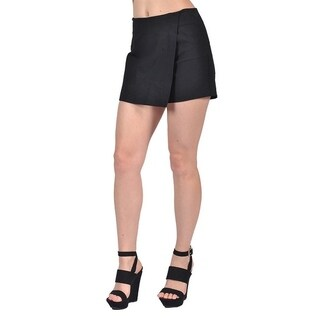 Mystic Womens Ladies Mini Skirt Shorts Black Overlap