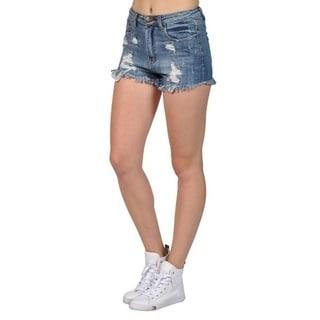 Women's Frayed High Fashion Ripped Mini Denim Shorts