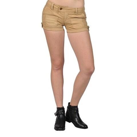 Junior's Womens High Fashion Low-Rise Shorts khaki