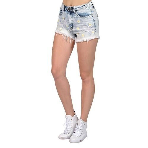 f479cbe69f Women's Ripped Mini Acid Washed Flower Patch Shorts