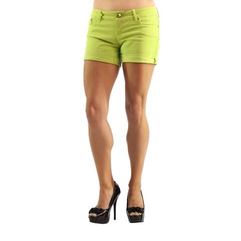 Dylan George High Fashion Womens Denim Mini Shorts Green