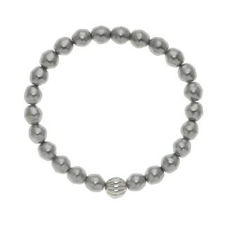 Round 8mm Grey Bead 7.5 inch Stretch Bracelet