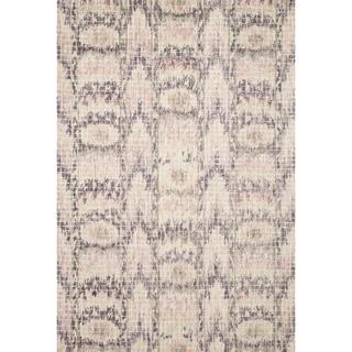 "Hand-hooked Transitional Blush Pink Ikat Mosaic Rug (3'6 x 5'6) - 3'6"" x 5'6"""