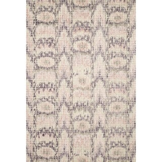 Hand-hooked Transitional Blush Pink Ikat Mosaic Rug (3'6 x 5'6)