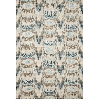 Alexander Home Turquoise/Ivory Wool Hand-hooked Ikat Mosaic Rug (5' x 7'6)