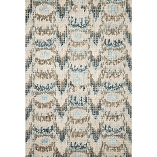 "Hand-hooked Transitional Turquoise Ikat Mosaic Rug (3'6 x 5'6) - 3'6"" x 5'6"""