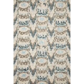 Hand-hooked Transitional Turquoise Ikat Mosaic Rug (3'6 x 5'6)